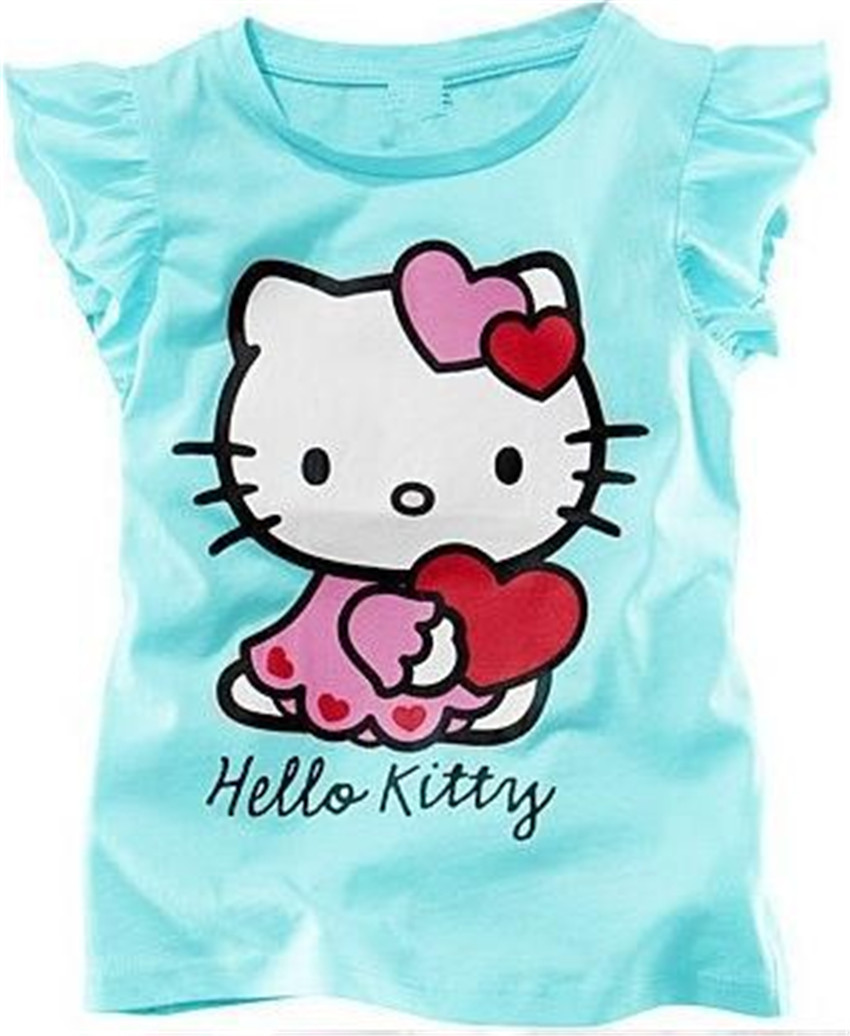 New 2016 Baby Girls Hello Kitty Short Sleeve T shirt Children Summer Clothes Kids T-shirt E36(China (Mainland))