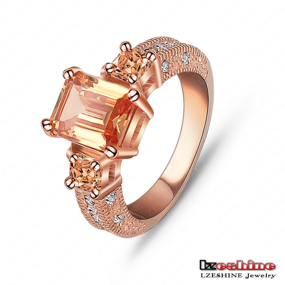 Beautiful Ring Rectangle Zircon Cutting Ring 18K Rose Gold Platinum Plated Women Rings Fashion Jewelry Wholesale
