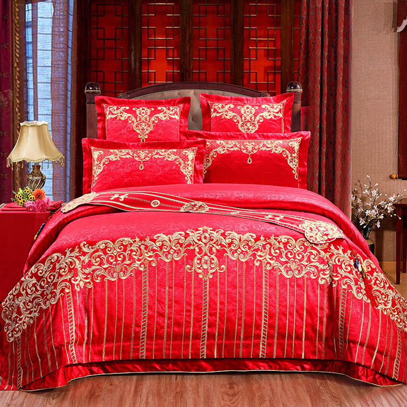 10/6/4 pcs luxury Satin Jacquard bedding set queen King size wedding bed cotton bed sheets duvet cover set bedspreads(China (Mainland))