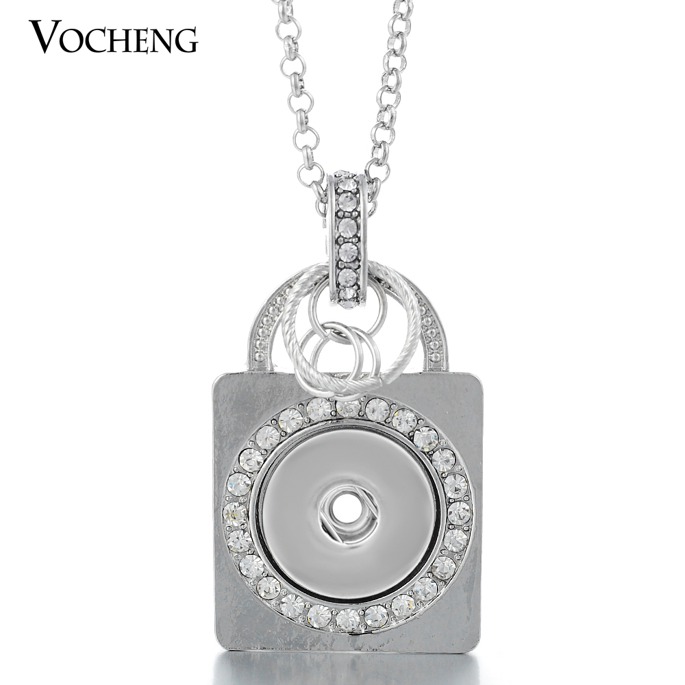 18mm Crystal Snap Charms Necklace Nameplate Pendant Jewelry with Stainless Steel Chain NN-067 Vocheng Jewelry Free Shipping(China (Mainland))