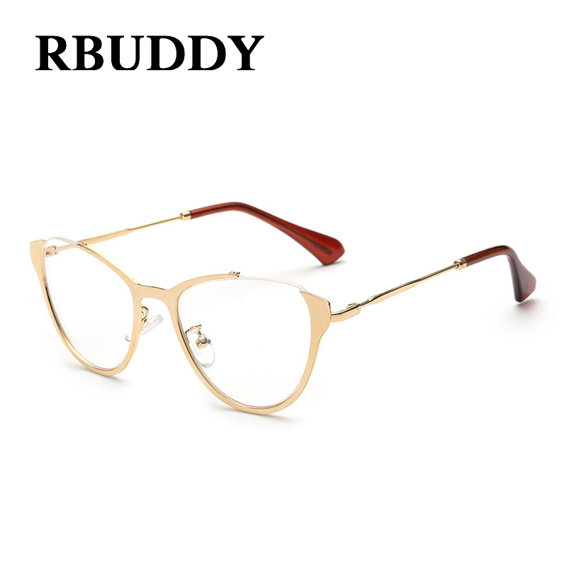 rbuddy women clear glasses cat eye gold frame eyeglasses rimless women clear lens glasses men transparent