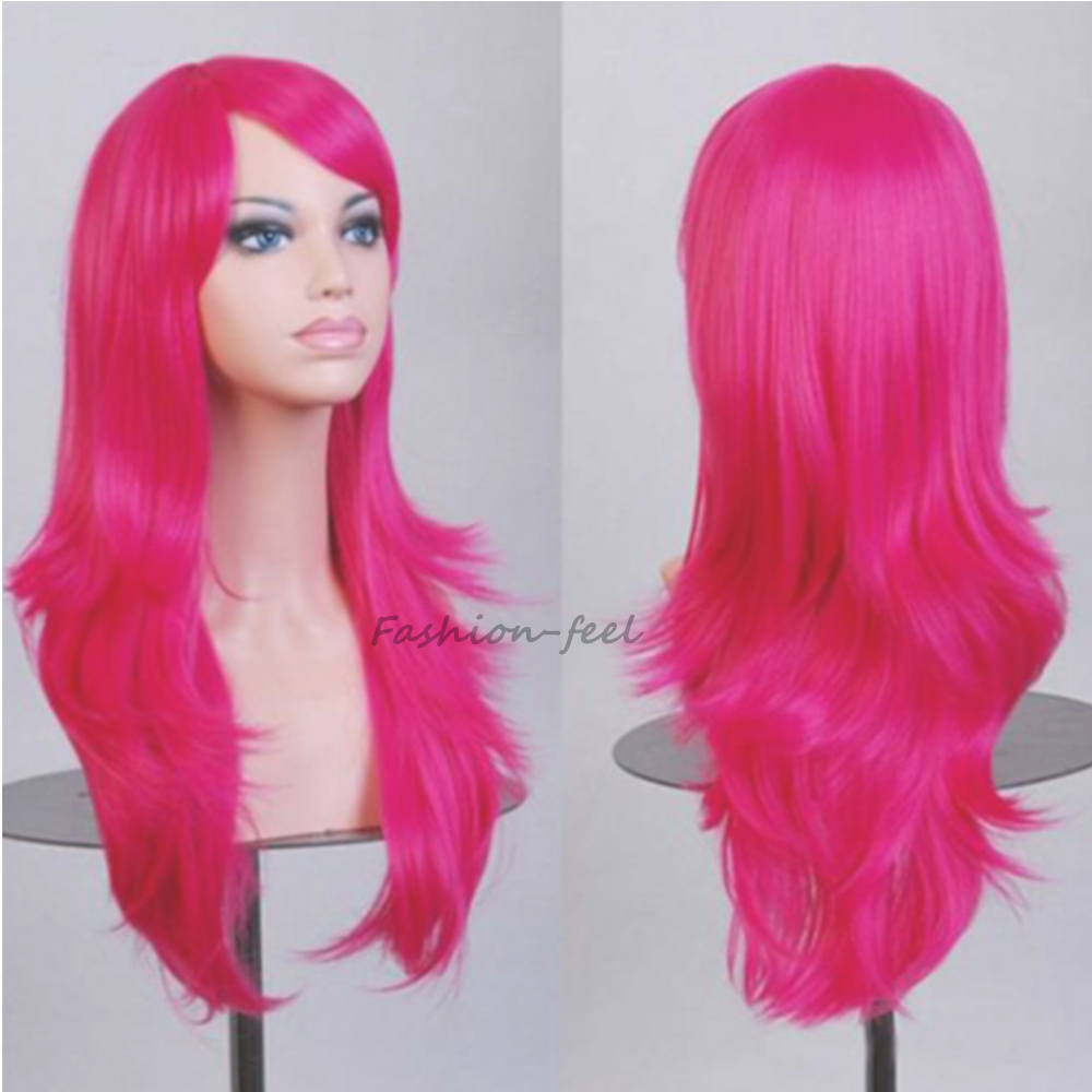 New Trendy Full Long Curly Wavy Layer Wig Women Ladies Unique Cosplay Party Anime Show Japanese Synthetic Wigs Hot Pink Hair(China (Mainland))