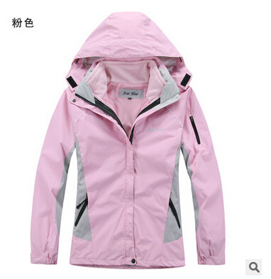 Free shipping woman outdoor sports Jacket ski jacket waterproof breathable two-in-one coat climbing jacket wholesale/retail(China (Mainland))