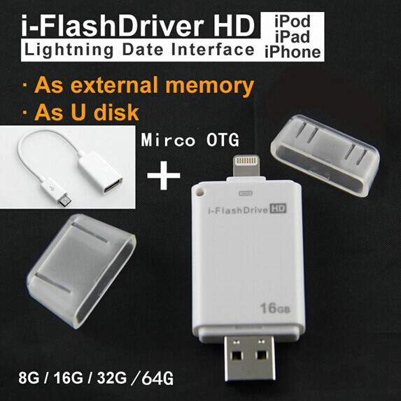 Newset! i-Flash Driver HD U-dick Lightning data for iPhone/iPad/iPod,micro usb interface flash drive for PC/MAC 8G/16G/32G/64G(China (Mainland))
