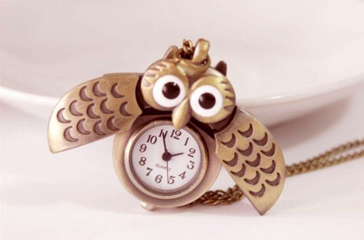 NEW Naruto Gaara One Piece Vintage Night Owl Necklace Watch Quartz Cosplay Gift(China (Mainland))