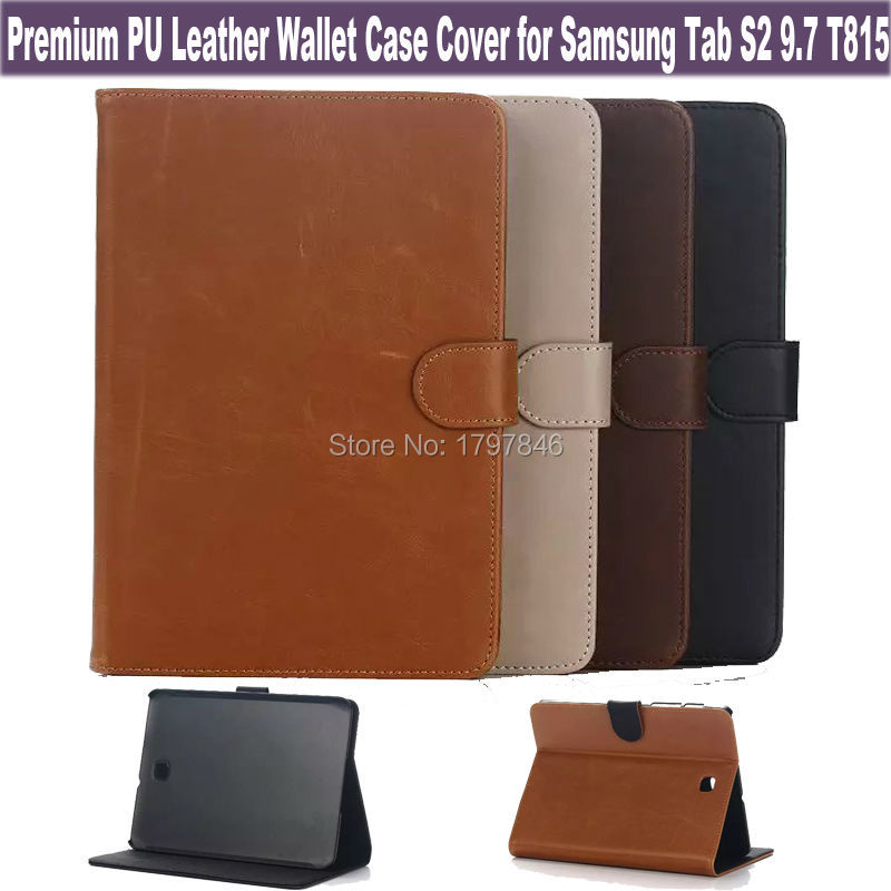 HOT PU Leather Cover For Samsung Galaxy Tab S2 9.7 T810 Tablet Wallet Case Cowhide Design Folio Magnetic Stand Skin w/ ID Holder(China (Mainland))
