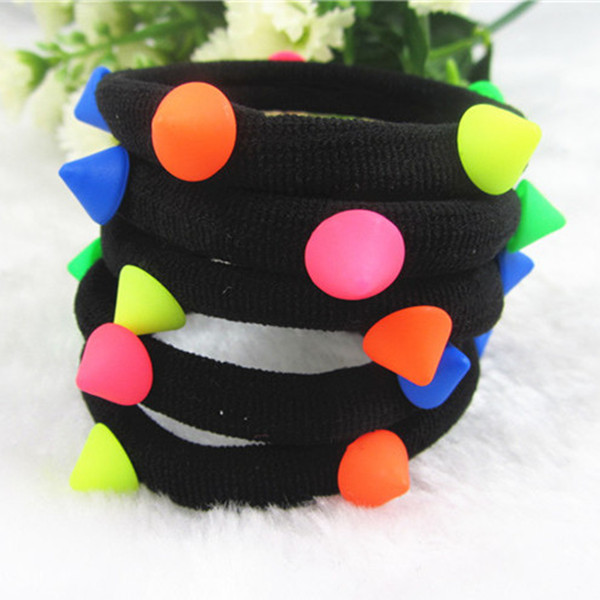 Cute Candy Color Beads Elastic Hair Band Hair Ties Nice Girl Hair Accessory Hair Band 10pcs/lot Factory Sale PJ007(China (Mainland))