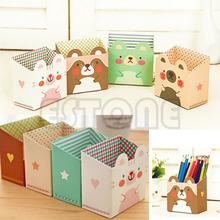 U119 Free Shipping Cute Cat Cartoon Paper Stationery Makeup Cosmetic Desk Organizer Storage Box DIY(China (Mainland))