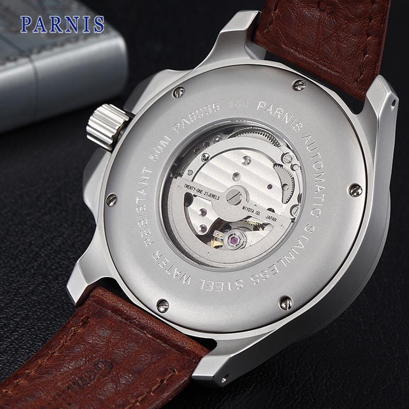 47 мм Parnis Часы Из Нержавеющей Стали Мужчины Сапфировое стекло Черный Циферблат PA6035 Автоматический Механизм Механические Наручные Часы