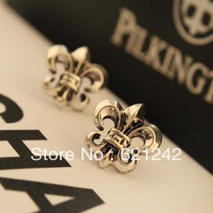YHD72179 Earrings Scout Flowers Cross Hexagon Earrings Ear Ring for Men Fashion Ear Jewelry For Men Cross Jewelry(China (Mainland))