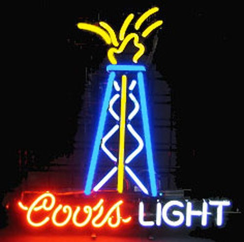 Super Bright!!FS Neon Sign Coors Light Oil Well Handcrafted Neon Light Sign Beerbar Sign Neon Beer Sign 24x20.Free Shipping!(China (Mainland))