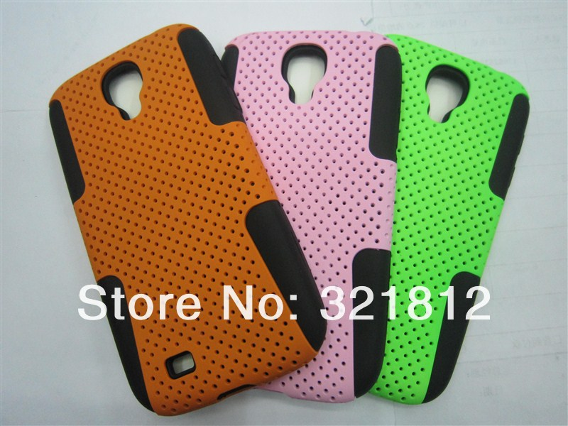 2 in 1 Hybrid Layer Hard Mesh Silicone CASE For Samsung Galaxy SIV S4 I9500 Plastic back cases skin 5pcs Free shipping hk post(China (Mainland))