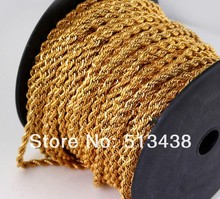 20 meters lot Fashion 18K Gold plated high-quality Stainless Steel 4mm rope chain.jewelry finding DIY necklace bracelet,in Bulk