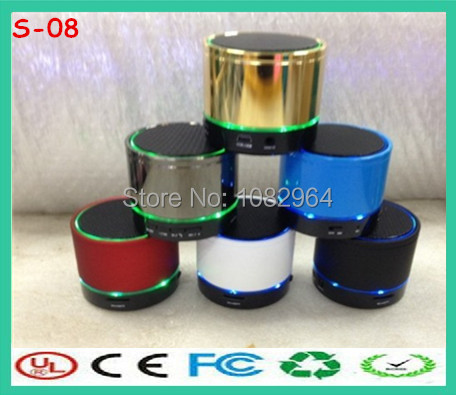 Free DHL S08 mini portable wireless speaker Hifi bluetooth speakers with 2 LED Light with retail box for mp3 player(China (Mainland))