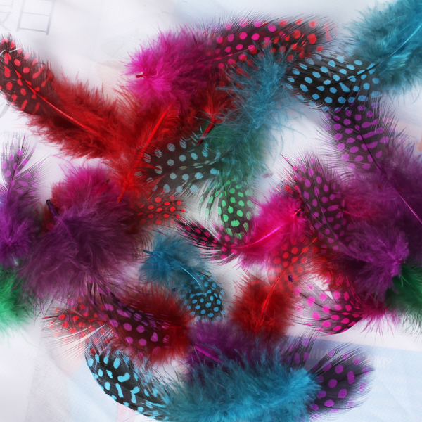 Decorative 50pcs Mixed Color Guinea Hen Feathers DIY Craft Spots Feather for Garment Wedding Dress Jean Sewing Accessories