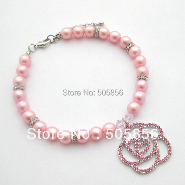 Free shipping!Pink dog pearls necklace collar rhinestones rose charm,pet puppy jewelry/S M L(China (Mainland))
