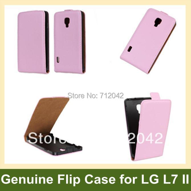 Fashion Genuine Leather Flip Cover Case for LG P715 (Optimus L7 II)  with Magnetic Snap 10pcs/lot Free Shipping