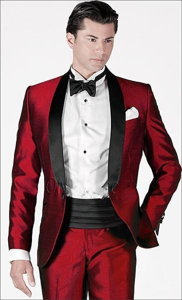 High Quality New The Groom Dress Red Suit Shawl Collar Wedding Custom Formal Dress Suits Ball