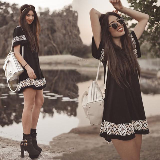 Новые летние женщины одеваются о-образным вырезом с коротким рукавами национальный стиль одежды свободного покроя Vestidos старинные boho черный