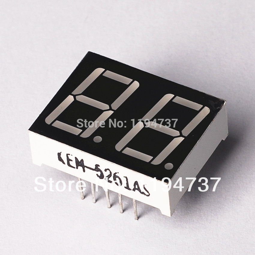 "Free Shipping Common Cathode 2Bit Digital Tube 7 segment 0.36"" Red LED Display 10PCS/LOT(China (Mainland))"