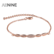AENINE Adjustable Micro CZ Rhinestone Paved Wave Pattern Wedding Bracelets Rose Gold Plated Lobster Clasp Eternity Jewelry(China (Mainland))