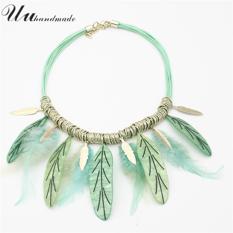 Kolye Rushed Pendants Arrival Style Pendant Necklace Rope Chain Acrylic Women Solitaire Feather Sale Necklaces Colar Feminino(China (Mainland))