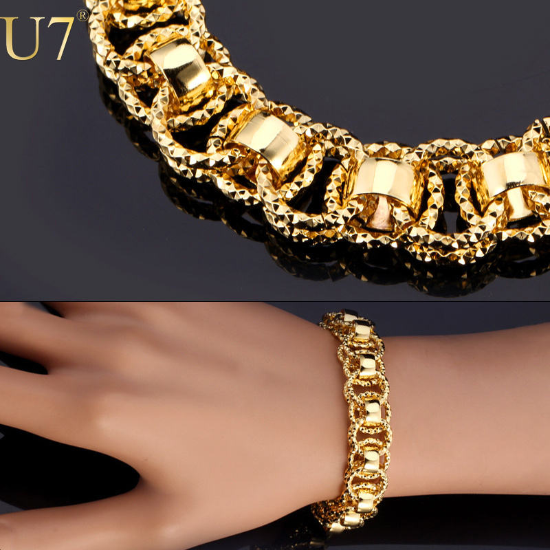 """Gold Bracelet With """"18K"""" Stamp Trendy Platinum/18K Real Gold Plated 21 cm Unique Round Chain & Link Bracelets Men Jewelry H489(China (Mainland))"""