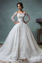 Amelia Sposa 2016 Lace Bridal Gowns Vestidos De Novia Off-shoulder Three Quarter Sleeve Ball Gown Wedding Dresses with Overskirt(China (Mainland))