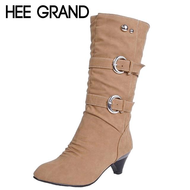 Сексуальные низкие каблуки женщин-сапоги весна осень пряжки средний-икры сапоги элегантные ...