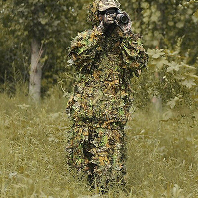 3D Camouflage Leaf Clothing Hunting Camo Yowie Sniper Archery Ghillie Suit Set P