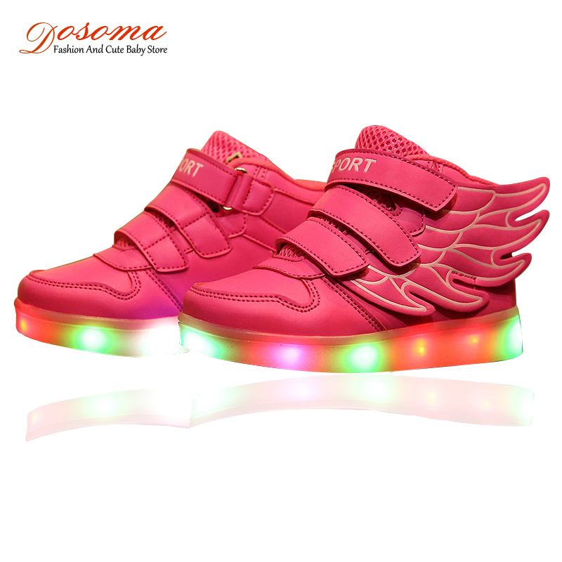 USB Chaussure LED Enfant 2016 European Children Sports Casual Shoes With Colorful Flashing Light Kids Fashion Toddler Sneakers(China (Mainland))