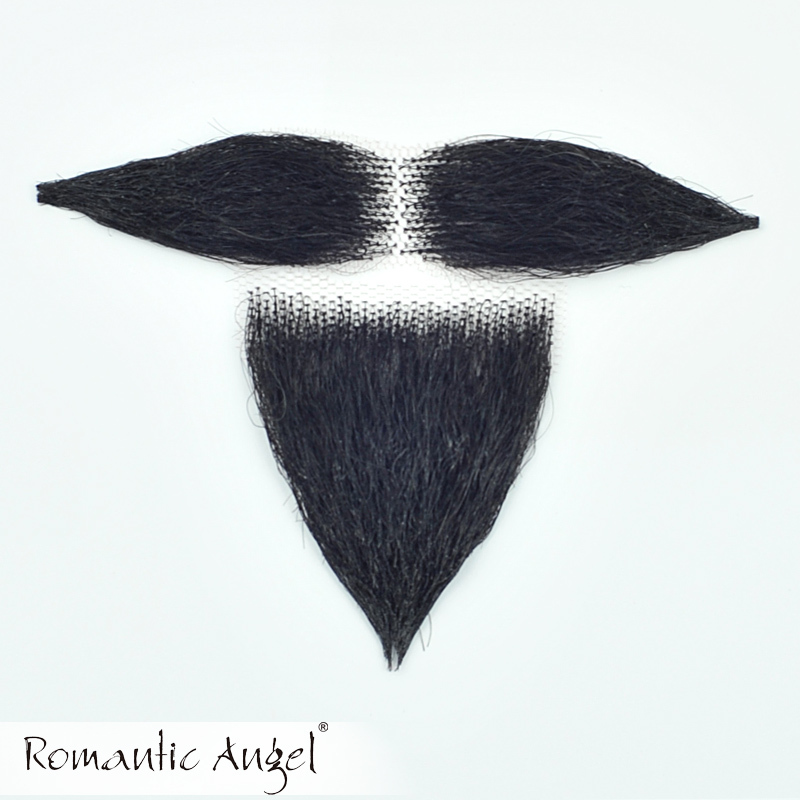 100% Human Hair Full Hand Tied Fake Mustache Handlebar False Beard for Entertainment/Drama/Party/costume Prop Moustache Whiskers(China (Mainland))