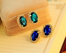 2015 Earrings For Women Girl Round Crystal Stud Earrings Blue/Green Boucle D'oreille Femme Er825(China (Mainland))