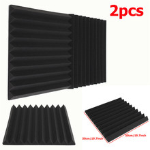 2pcs Acoustic Wedge Studio Soundproofing Foam Wall Tiles 50 x 50 x 5cm Black Using polyurethane foam material Hot Sale(China (Mainland))