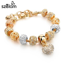 2016 Famous Jewelry Gold Heart Charm Bracelets & Bangles Snake Chain Bracelets For Women Pulsera SBR150074(China (Mainland))