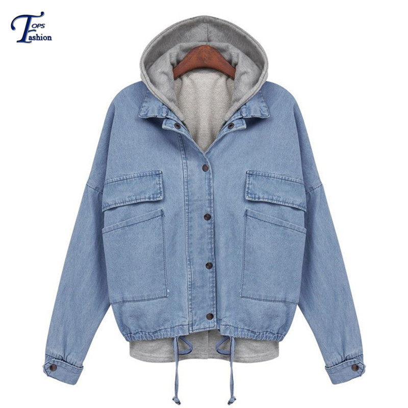 Hoodies Jacket Brand Sheinside Spring Hot Sale Casual Women Outwear Fashion Blue Hooded Long Sleeve Drawstring Denim Coat(China (Mainland))