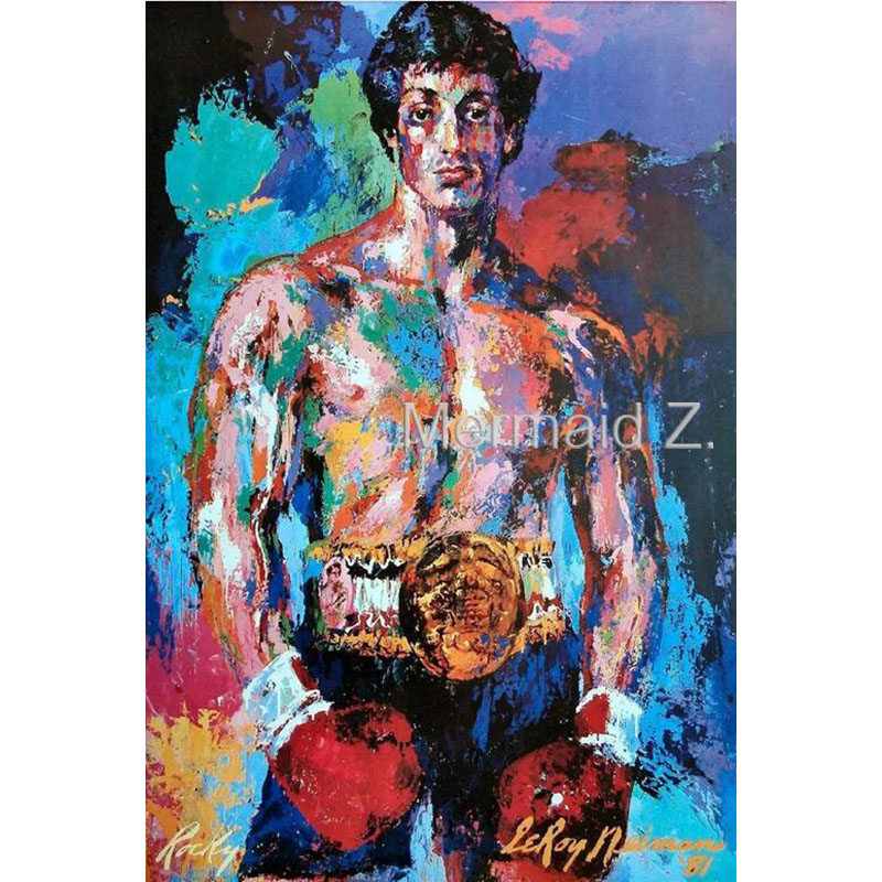 """Hand painted Leroy Neiman""""Rocky vs Apollo""""Palette knife Abstract Artists Paintings PAINTING on Canvas Boxing Sports Movie Poster(China (Mainland))"""