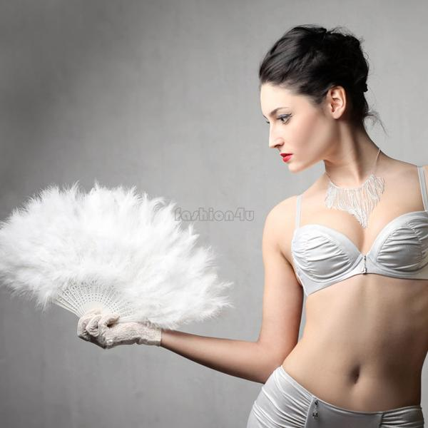 white feather wedding party ball lady folding hand fan EN0771(China (Mainland))