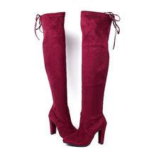 Yeni Kadın Çizme Moda Süet Kadın Diz Çizme Dantel Up Seksi Yüksek Topuklu Ayakkabılar Kadın Ince Uyluk Yüksek çizme bayan Botları(China)