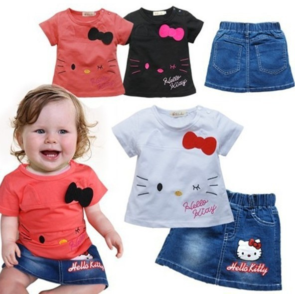 2016 New top quality baby clothing Hello kitty girls set t-shirt+denim skirt 2pcs summer children set Retail BBS067