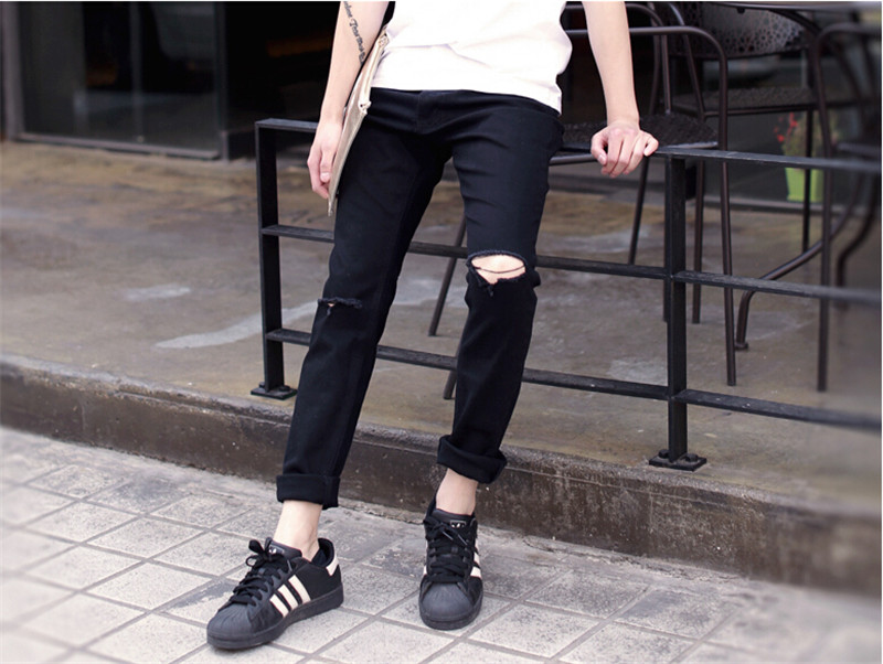 ripped jeans for men skinny Distressed slim biker hip hop black jeans kanye west Size M,L,XL,XXL