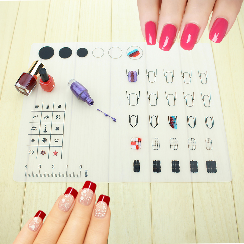Nail Art Manicure Silicone Mat For Stamping Reverse Stamp