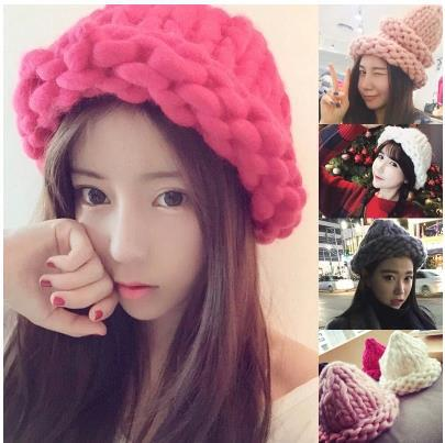 9 colors Korea hot sale warm winter girls hat thick wool cotton handmade gorro solid candy color women beanies red/blue/pink(China (Mainland))