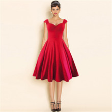XN290 Red and black V neck sexy dresses clubwear vestido vintage dress plus size 2XL knee length ladies summer dress clothes(China (Mainland))