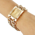 Hot 2016 New Fashion Gold Watches Luxury Watch Women Rectangle Dial Alloy Chain Band Quartz Wristwatches