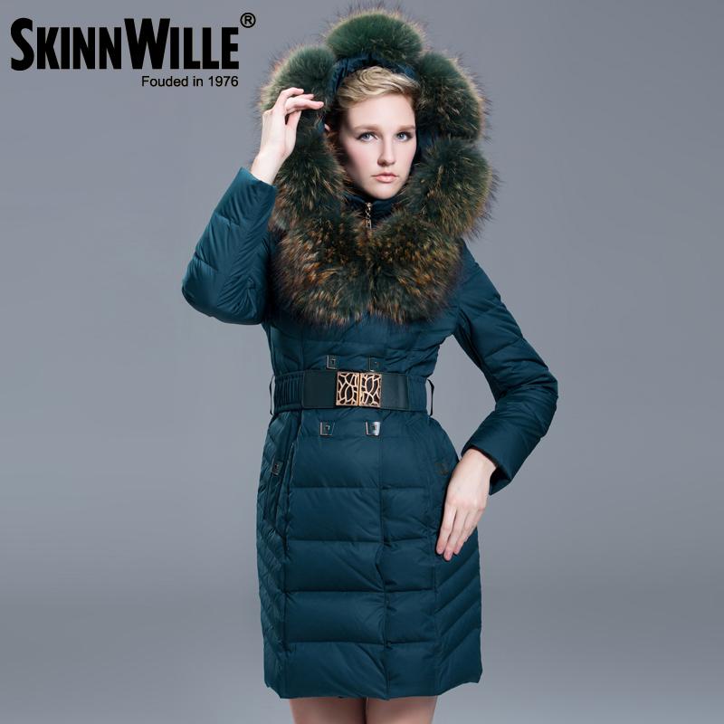 NEW 2015 Winter Jacket Women's Luxury Raccoon Fur Collar White Duck Down Coats Fashion Down Jackets Women Branded Long Parkas(China (Mainland))
