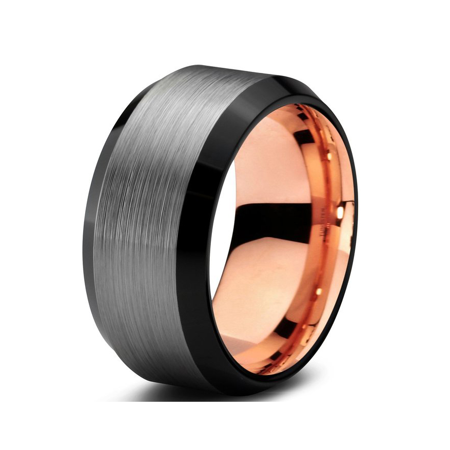 Black&rose gold tungsten ring brushed&beveled mens wedding ring with size 6-size 15 available(China (Mainland))