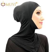 FREE SHIPPING wholesale muslim hijab mini ninja wrap islamic inner easy neck instant latest design turban modal black underscarf(China (Mainland))