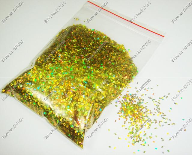 50gram-1mm Laser Holographic Gold Dazzling Diamond Glitter Paillette Spangles Shape for DIY Nail Art Decoration&Glitter Crafts