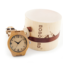 Brand Women's Bamboo Wristwatch Handmade Wooden Watches With Genuine Leather Band Wooden Gifts Box